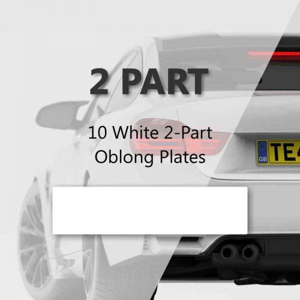 Bundle of 10 White 2-Part Oblong Plates