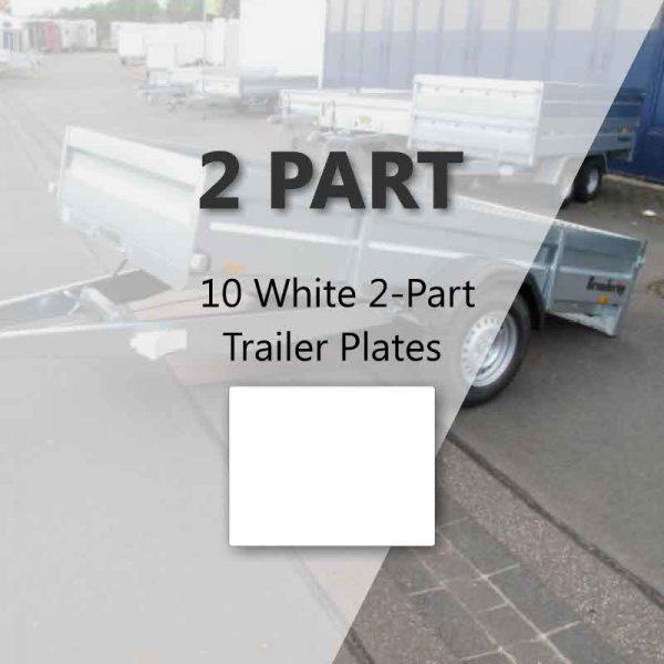 10 White 2-Part Trailer Plates