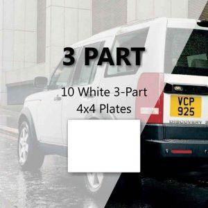 10 White 3-Part 4x4 Plates