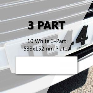 10 White 3-Part 533x152mm Plates