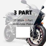 10 White 3-Part Motorbike Plates