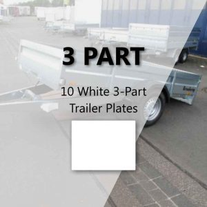 10 White 3-Part Trailer Plates