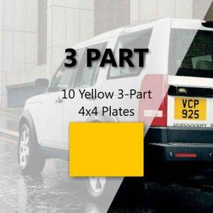 10 Yellow 3-Part 4x4 Plates