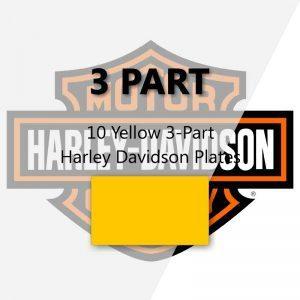 10 Yellow 3-Part Harley Davidson Plates