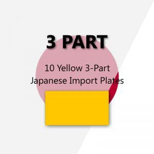 10 Yellow 3-Part Japanese Import Plates
