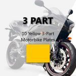 10 Yellow 3-Part Motorbike Plates