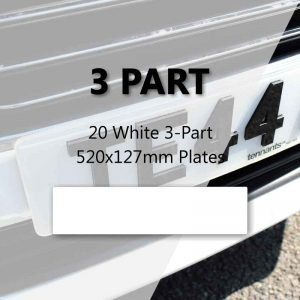20 White 3-Part 520x127mm Plates
