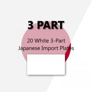 20 White 3-Part Japanese Import Plates