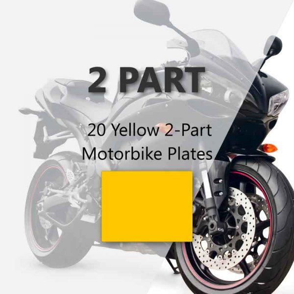 20 Yellow 2-Part Motorbike Plates