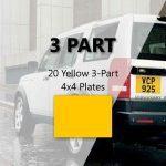 20 Yellow 3-Part 4×4 Plates
