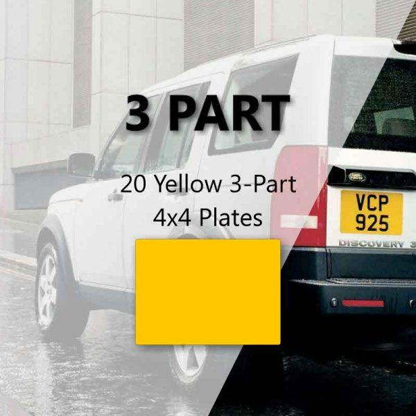 20 Yellow 3-Part 4x4 Plates
