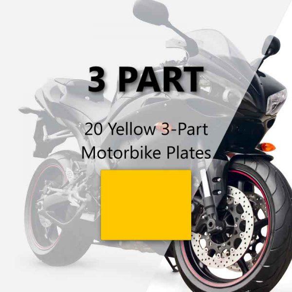 20 Yellow 3-Part Motorbike Plates
