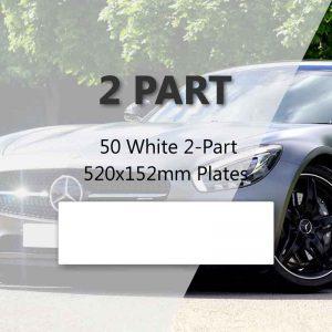 50 White 2-Part 520x152mm Plates