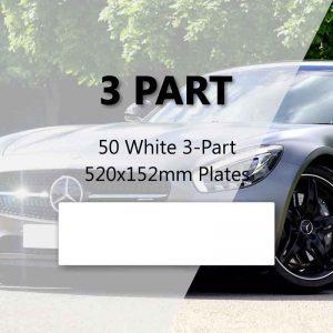 50 White 3-Part 520x152mm Plates