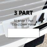 50 White 3-Part 533x152mm Plates