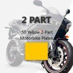 50 Yellow 2-Part Motorbike Plates