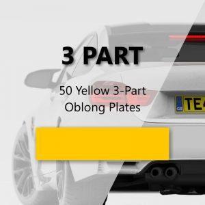 50 Yellow 3-Part Oblong Plates