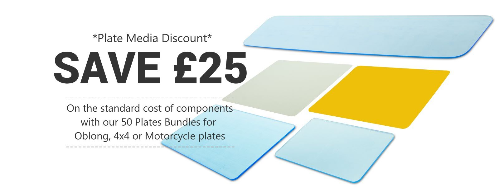 Save £25 on your number plate media with Tennants 50 Plate Bundles