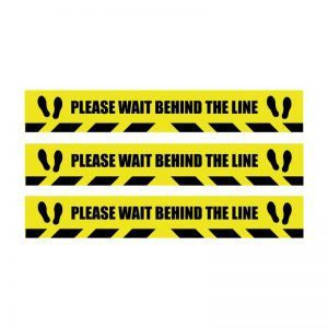 Please Wait Behind the Line Floor Sticker