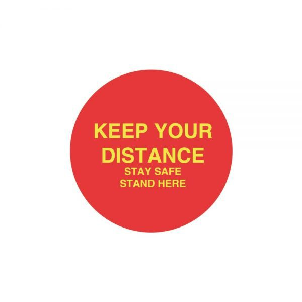 Red Keep Your Distance Floor Sticker