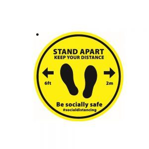 Yellow Stand Apart Floor Sticker