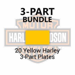 20 Yellow Harley 3-Part Plates