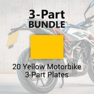 20 Yellow Motorbike 3-Part Plates
