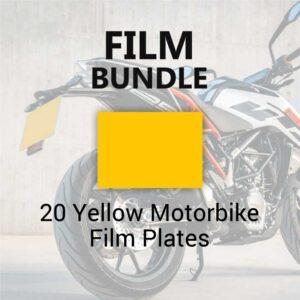 20 Yellow Motorbike Film Plates