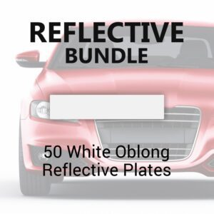 50 White Oblong Reflective Plates