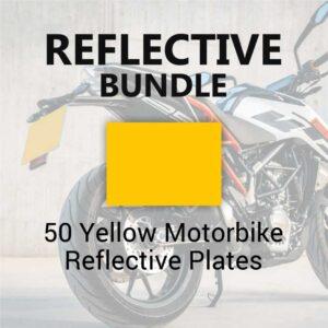 50 Yellow Motorbike Reflective Plates
