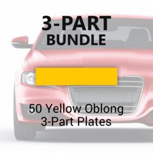 50 Yellow Oblong 3-Part Plates